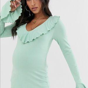 ASOS DESIGN Maternity long sleeve ruffle front top